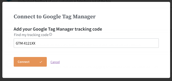 Enter your GTM Tracking code
